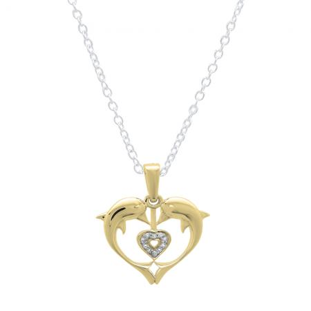 d52e3540226eb1 0.05 Carat (ctw) 10K Yellow Gold Real Round Diamond Ladies Double Dolphin Heart  Pendant