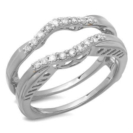 0.30 Carat (ctw) 14K White Gold Round Diamond Ladies Anniversary Wedding Band Enhancer Double Guard Ring 1/3 CT