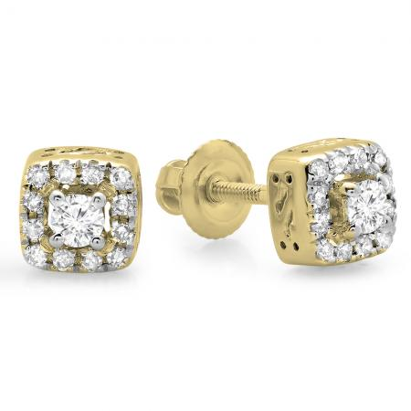 0.25 Carat (ctw) 10K Yellow Gold Round Cut Diamond Ladies Square Frame Halo Stud Earrings 1/4 CT