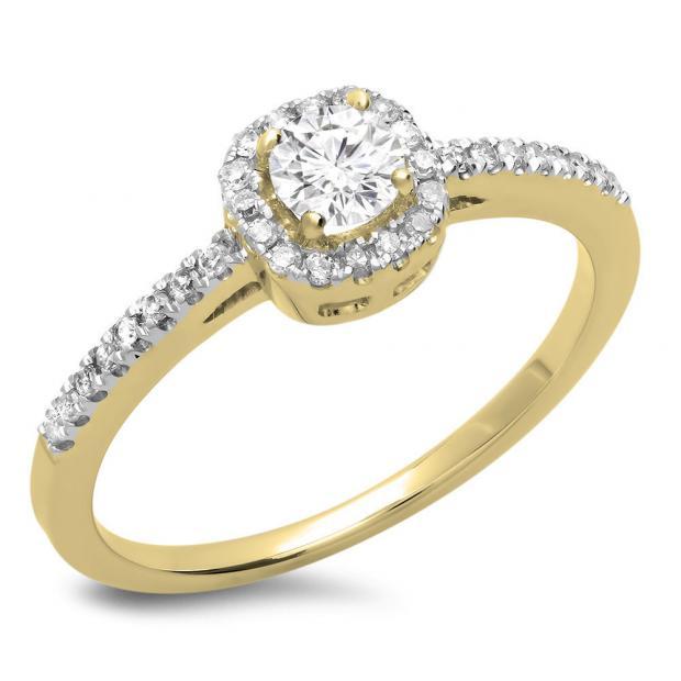 0.45 Carat (ctw) 10K Yellow Gold Round Cut Diamond Ladies Halo Style Bridal Engagement Ring 1/2 CT