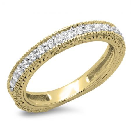 0.33 Carat (ctw) 14K Yellow Gold Round Cut Diamond Ladies Millgrain Anniversary Wedding Stackable Band 1/3 CT