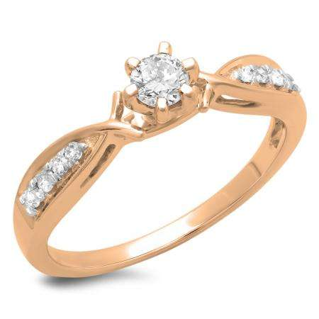 0.33 Carat (ctw) 10K Rose Gold Round Cut Diamond Ladies Bridal Solitaire With Accents Engagement Ring 1/3 CT