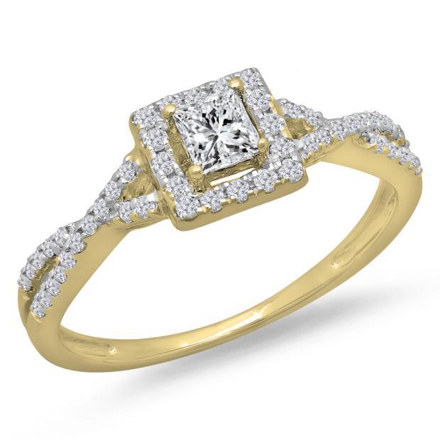 0.50 Carat (ctw) 18K Yellow Gold Princess & Round Diamond Ladies Swirl Split Shank Bridal Halo Style Engagement Ring 1/2 CT