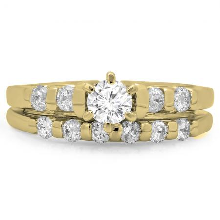 1.00 Carat (ctw) 14K Yellow Gold Round Cut Diamond Ladies Bridal Solitaire With Accents Engagement Ring Matching Band Set 1 CT
