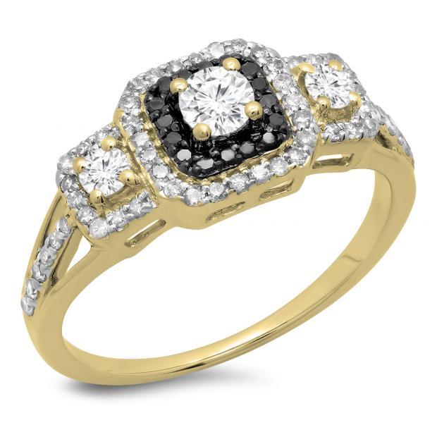 0.70 Carat (ctw) 14K Yellow Gold Round Cut Black & White Diamond Ladies Bridal Cluster 3 Stone Halo Engagement Ring 3/4 CT