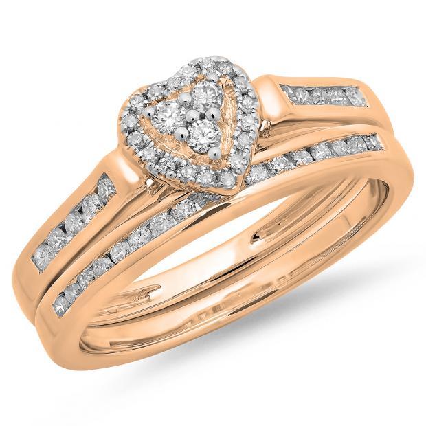 0.50 Carat (ctw) 10K Rose Gold Round Cut Diamond Ladies Heart Shaped Bridal Engagement Ring With Matching Band Set 1/2 CT