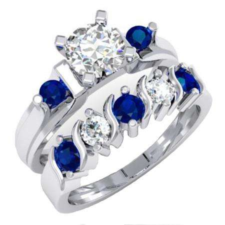 1.85 Carat (ctw) 18K White Gold Round Blue & White Sapphire Ladies 3 Stone Bridal Engagement Ring Matching Band Set
