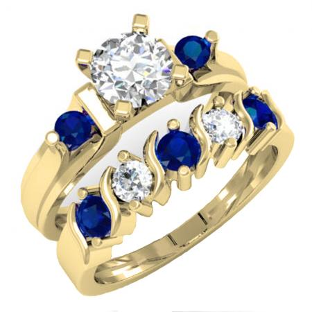 1.85 Carat (ctw) 18K Yellow Gold Round Blue & White Sapphire Ladies 3 Stone Bridal Engagement Ring Matching Band Set