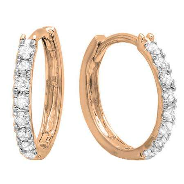 0.20 Carat (ctw) 14K Rose Gold Round White Diamond Huggie Hoop Earrings 1/5 CT