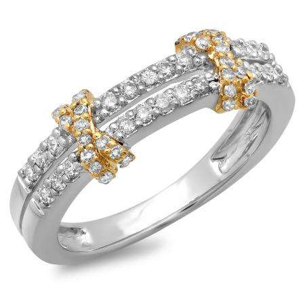 0.45 Carat (ctw) 10K Two Tone Gold Round Diamond Ladies Double Row Anniversary Wedding Band 1/2 CT