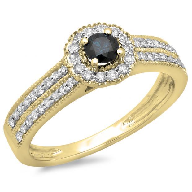 0.50 Carat (ctw) 14K Yellow Gold Round Blue & White Diamond Ladies Bridal Halo Style Cluster Engagement Ring 1/2 CT
