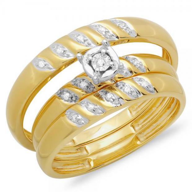 0.05 Carat (ctw) 14K Yellow Gold Round White Diamond Men & Women