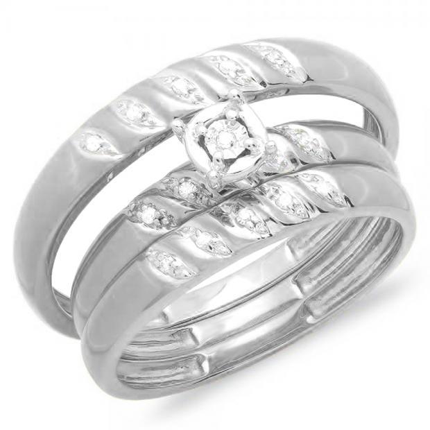 0.05 Carat (ctw) 18K White Gold Round White Diamond Men & Women