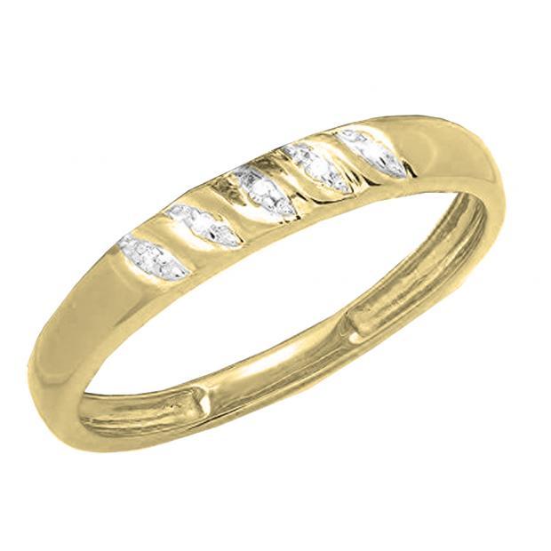 0.02 Carat (ctw) 14K Yellow Gold Round White Diamond Ladies Wedding Stackable Band