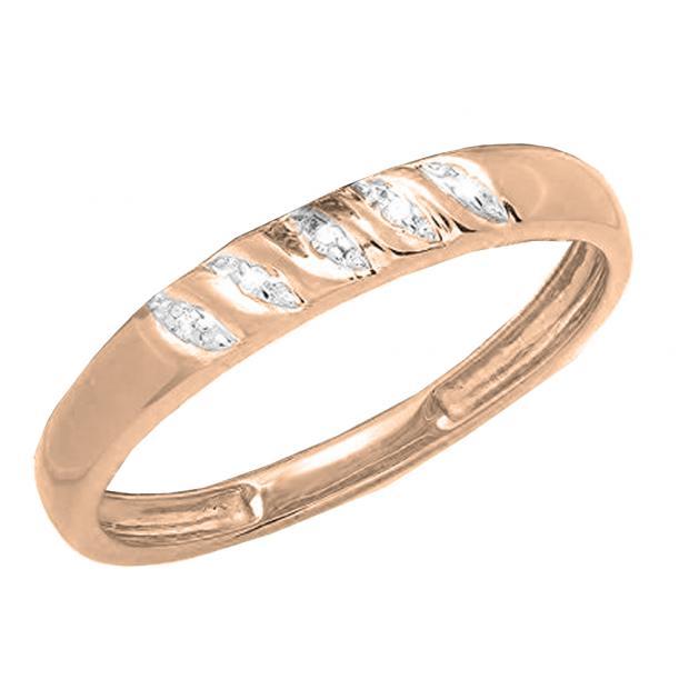 0.02 Carat (ctw) 18K Rose Gold Round White Diamond Ladies Wedding Stackable Band