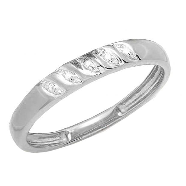 0.02 Carat (ctw) 18K White Gold Round White Diamond Ladies Wedding Stackable Band