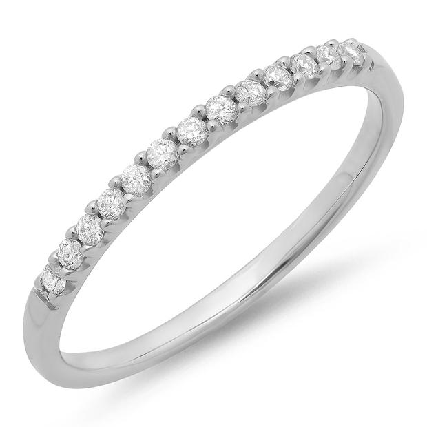 0.15 Carat (ctw) 10k White Gold Round White Diamond Ladies Anniversary Wedding Band Stackable Ring