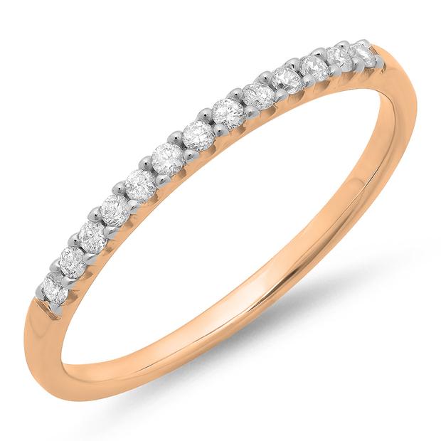 0.15 Carat (ctw) 14k Rose Gold Round White Diamond Ladies Anniversary Wedding Band Stackable Ring