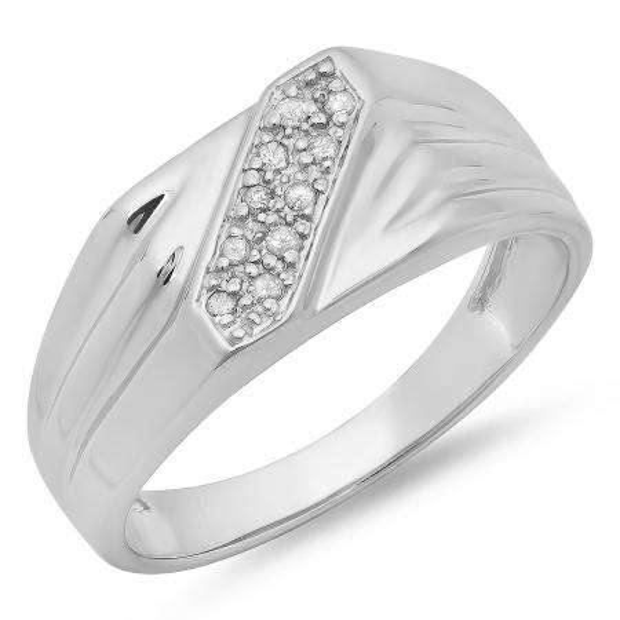 0.10 Carat (ctw) Sterling Silver Round White Real Diamond Men