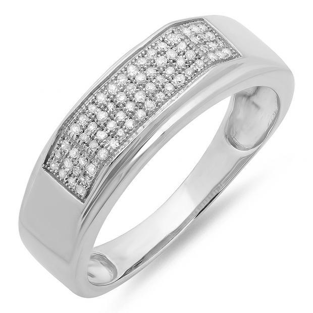0.20 Carat (ctw) Sterling Silver Round White Diamond Men