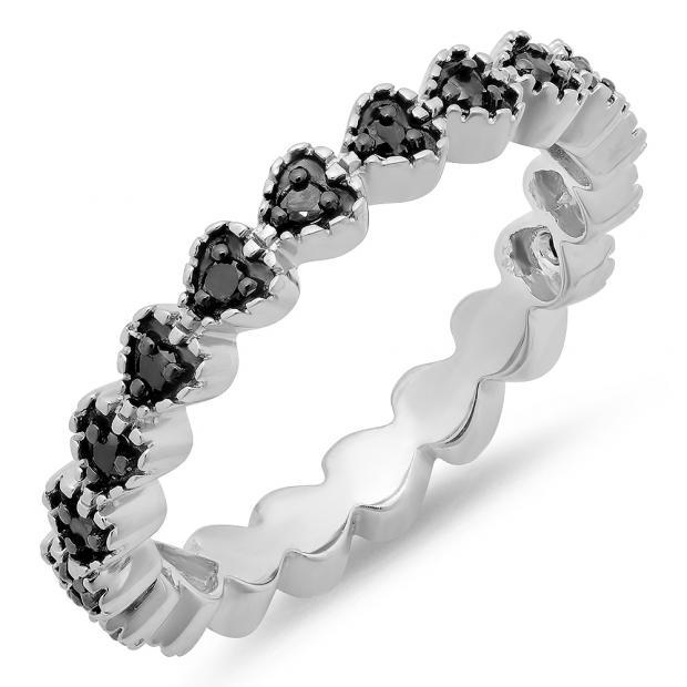 0.23 Carat (ctw) Sterling Silver Round Black Diamond Ladies Heart Wedding Ring Band 1/4 CT