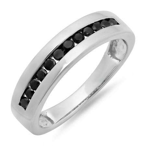 0.50 Carat (ctw) Sterling Silver Real Black Round Diamond Men