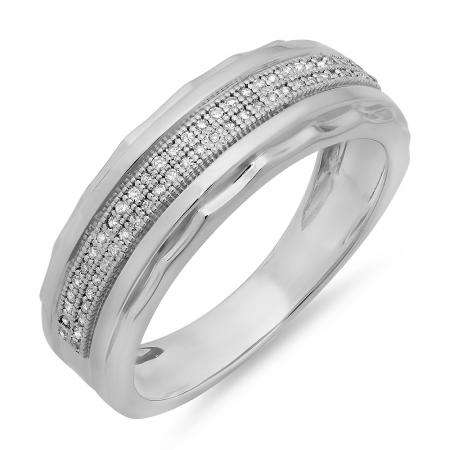 0.20 Carat (ctw) Sterling Silver Round White Diamond Men