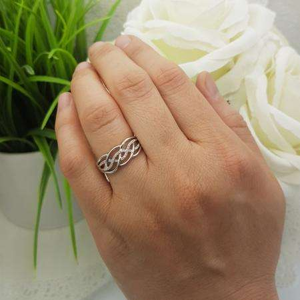 0.10 Carat (ctw) Sterling Silver Round White Diamond & Citrine Ladies Swirl Cocktail Right Hand Ring 1/10 CT