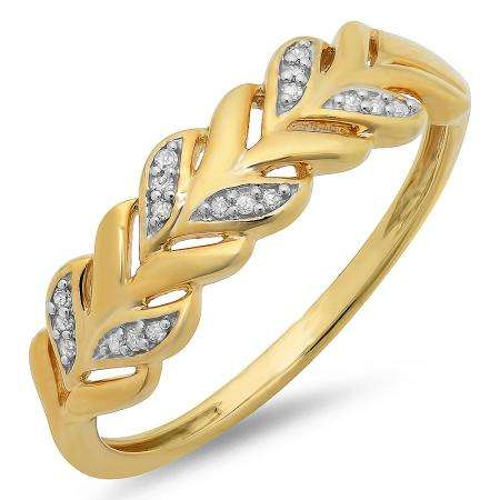 0.05 Carat (ctw) Yellow Gold Plated Sterling Silver Round White Diamond Ladies Vintage Style Anniversary Wedding Matching Band Stackable Ring