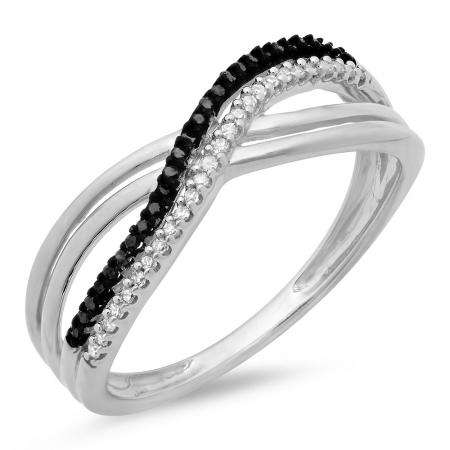 0.15 Carat (ctw) Sterling Silver Round White and Black Diamond Ladies Swirl Wedding Anniversary Band Ring