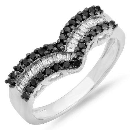 0.49 Carat (ctw) Sterling Silver Round & Baguette Cut Black & White Diamond Ladies Right Hand Fashion Band 1/2 CT