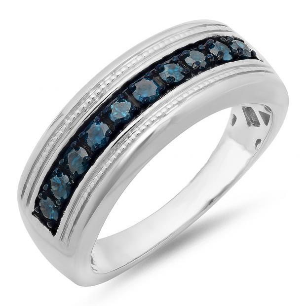0.65 Carat (ctw) Sterling Silver Round Blue Diamond Men