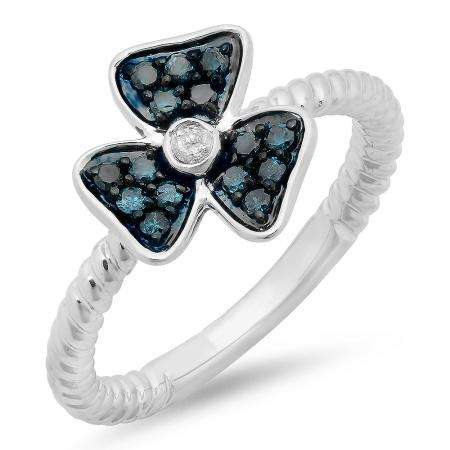 0.25 Carat (ctw) Sterling Silver Round Blue & White Diamond Ladies Cocktail Right Hand Flower Ring 1/4 CT