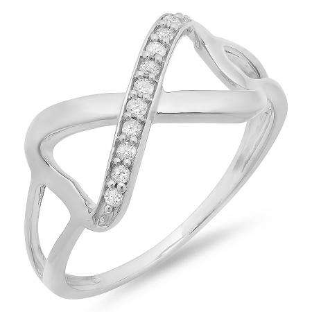 0.10 Carat (ctw) Sterling Silver Round White Diamond Ladies Promise Two Double Heart Infinity Love Engagement Ring 1/10 CT