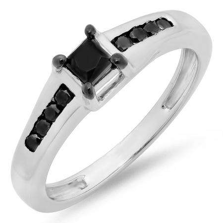 0.50 Carat (ctw) Sterling Silver Princess & Round Black Diamond Ladies Solitaire With Accents Bridal Engagement Ring 1/2 CT