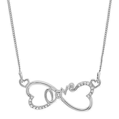 0.10 Carat (ctw) Sterling Silver White Round Diamond Ladies Double Heart Pendant 1/10 CT