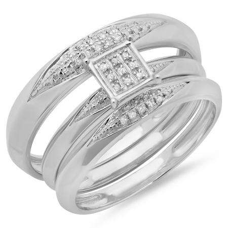 0.06 Carat (ctw) Sterling Silver Round White Diamond Men & Womens Micro Pave Engagement Ring Trio Bridal Set