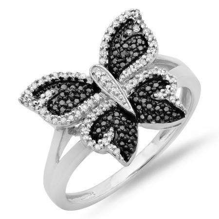 0.24 Carat (ctw) Sterling Silver Round Black & White Diamond Butterfly Cocktail Right Hand Ring 1/4 CT