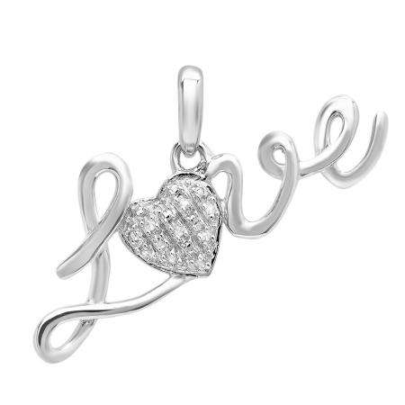 0.03 Carat (ctw) Sterling Silver White Round Diamond Ladies Heart Love Pendant