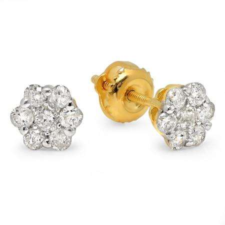 0.52 Carat (ctw) Yellow Gold Plated Sterling Silver Round White Diamond Ladies Cluster Flower Earrings 1/2 CT