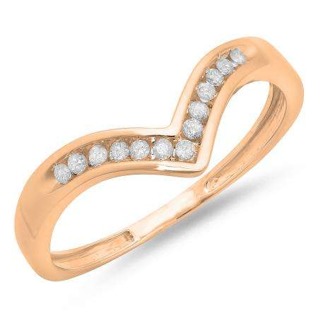 0.10 Carat (ctw) 14K Rose Gold White Round Real Diamond Wedding Stackable Band Anniversary Guard Chevron Ring 1/10 CT