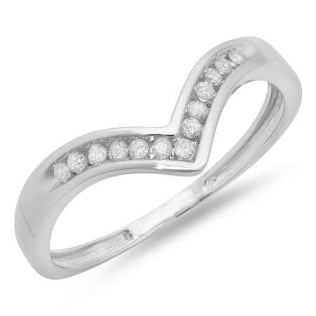 0.10 Carat (ctw) 14K White Gold White Round Real Diamond Wedding Stackable Band Anniversary Guard Chevron Ring 1/10 CT