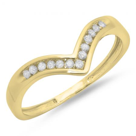 0.10 Carat (ctw) 14K Yellow Gold White Round Real Diamond Wedding Stackable Band Anniversary Guard Chevron Ring 1/10 CT