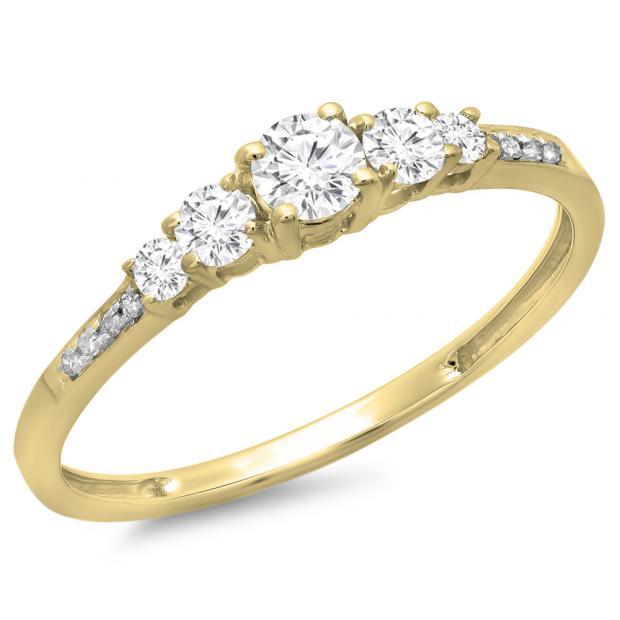 0.40 Carat (ctw) 10K Yellow Gold Round Cut Diamond Ladies Bridal 5 Stone Engagement Ring
