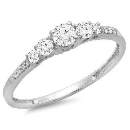 0.40 Carat (ctw) 14K White Gold Round Cut Diamond Ladies Bridal 5 Stone Engagement Ring
