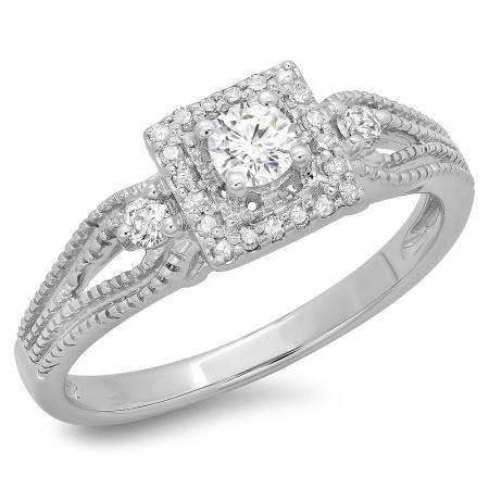 0.40 Carat (ctw) 10K White Gold Round Cut Diamond Ladies Bridal Vintage Halo Style Engagement Ring