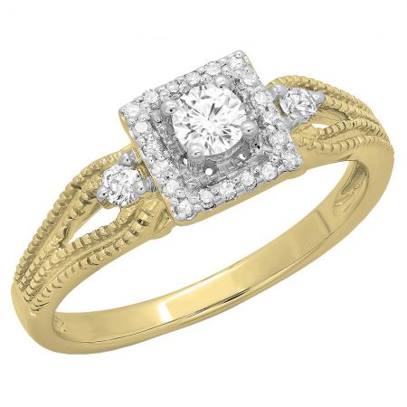 0.40 Carat (ctw) 10K Yellow Gold Round Cut Diamond Ladies Bridal Vintage Halo Style Engagement Ring