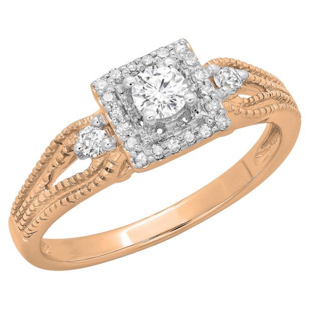 0.40 Carat (ctw) 18K Rose Gold Round Cut Diamond Ladies Bridal Vintage Halo Style Engagement Ring