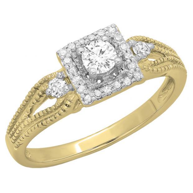 0.40 Carat (ctw) 18K Yellow Gold Round Cut Diamond Ladies Bridal Vintage Halo Style Engagement Ring