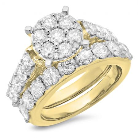3.40 Carat (ctw) 10K Yellow Gold Round Cut Diamond Ladies Cluster Bridal Engagement Ring With Matching Band Set